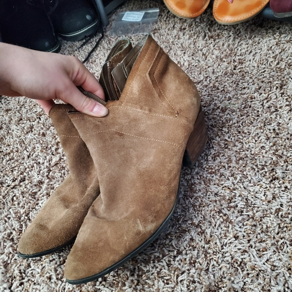 Crown Vintage Suede Booties Tan Leather Size 9.5